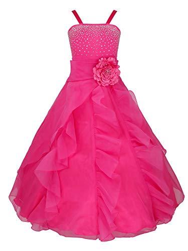 YiZYiF Vestido Fiesta Boda Niñas Vestido Ceremonia Largo Flores Vestido Elegante Princesa con Lentejuelas Traje Lujoso Maxi Comunión Noche 2-14 Años Rosa 8-9 años
