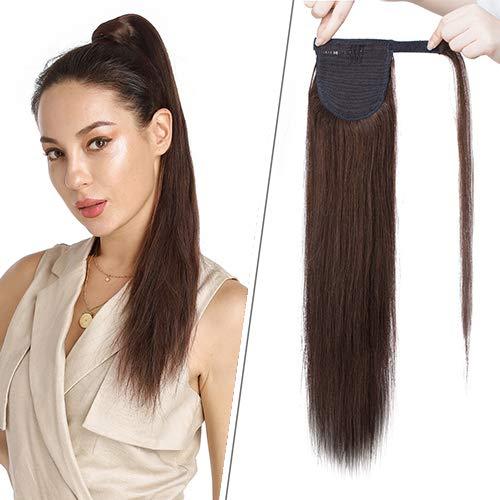 18 Pouces Extension Queue de Cheval Lisse Raide Cheveux Humain Naturel - #4 Châtain - Wrap Around Ponytail Extension Magique