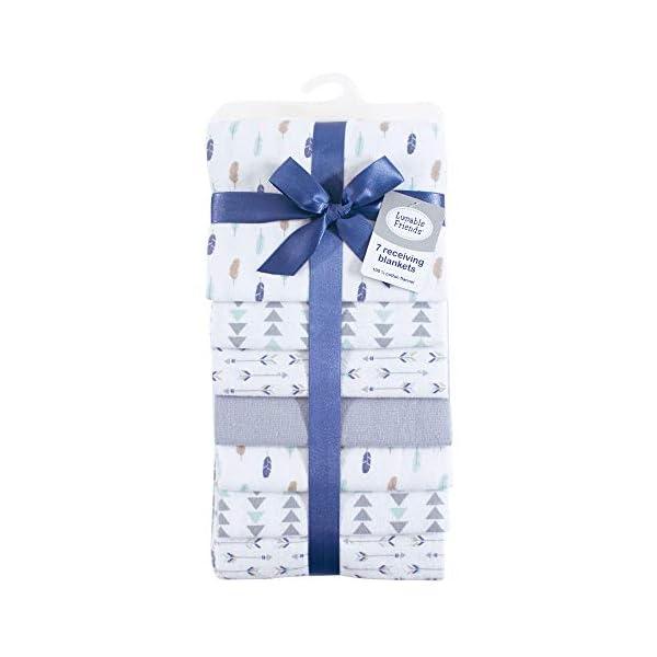 Luvable Friends Unisex Baby Cotton Flannel Receiving Blankets Bundle, Boy Feathers, One Size