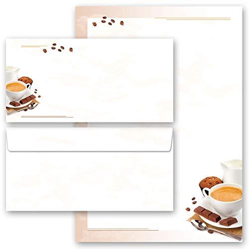 Motivpapier Briefpapier Sets Einladung Essen & Trinken, KAFFEE MIT MILCH 50 Blatt Briefpapier + 50 passende Briefumschläge DIN LANG ohne Fenster | Paper-Media
