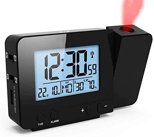 LYY Digitaler Projektionswecker mit Thermometer und Hygrometer, USB-Ladegerät, Dual-Wecker für Schlafzimmer, Reisen, schwere Schläfer, manuelle Zeiteinstellung