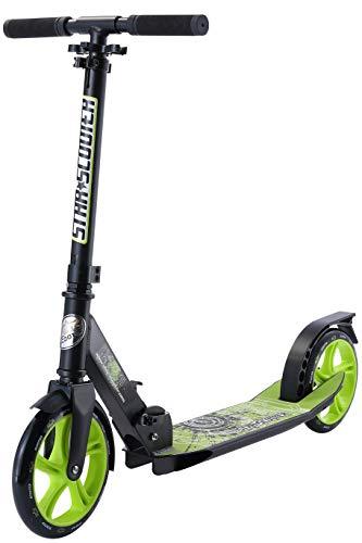 Star-Scooter Aluminium Kickscooter Roller Kinderroller Tretroller für Jungen und Mädchen ab 6-7 Jahre | Big 205mm Wheel Cruiser Scooter für Kinder und Erwachsene | Schwarz & Grün