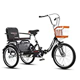 FGVDJ 20 Inch Single Speed Three-Wheeled Bicycles Cargo Tricycles with Basket and Back Seat Instead of Walking Leisure 3 Wheel Car for Outdoor Sports