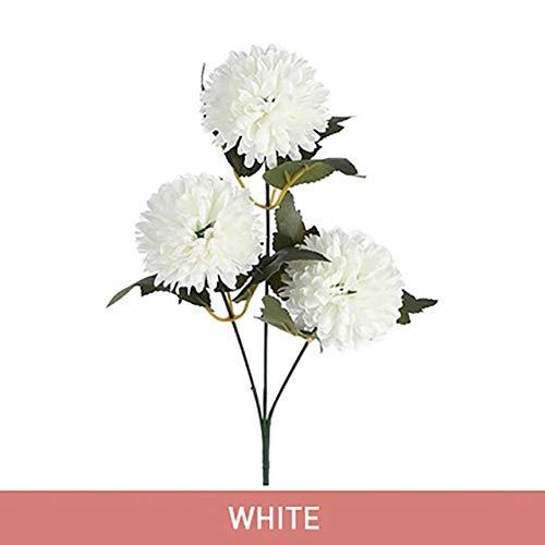 Fleurs artificielles 1 bouquet de fleurs artificielles 3 têtes artificielles Chrysanthème Fleurs de Noël Fête de mariage Décoration d'intérieur Faux Fleurs 9 couleurs simulation (Color : White)