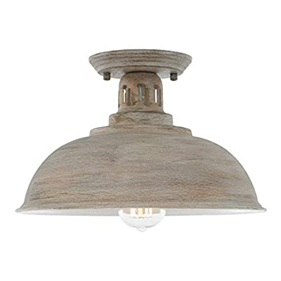 HMVPL Farmhouse Close to Ceiling Light, Vintage Semi Flush Mounted Lighting Fixture Industrial Ceiling Lamp for Kitchen Island Dining Room Foyer Hallway Entry Bedroom