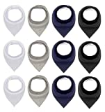 Black White Cotton Bandana Snap Drool Bibs for Baby Girls for Drooling eating Teething for 12 Pack