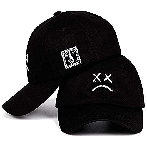 Men Women Hip Hop Cap Sad Boys Adjustable Hat Crying Face Embroidery Baseball Cap Dad Black (Black)