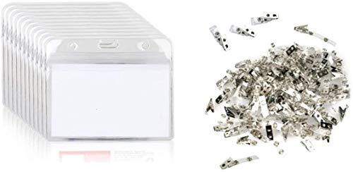 Porta tarjetas de identificación de PVC de 50 piezas y clips metálicos de 50 piezas para exhibición, escuela, tarjeta de identificación de conferencia, etiqueta de identificación