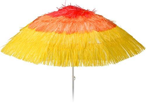 matrasa Sonnenschirm Bast-Optik Farbverlauf Gelb-Rot Strandschirm Bastschirm Strohschirm Fransenschirm Ø 174 cm