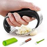 Garlic Press Rocker-Stainless Steel Garlic Mincer Professional Garlic Crusher Garlic Masher Tool with Silicon Peeler Comfortable Handle