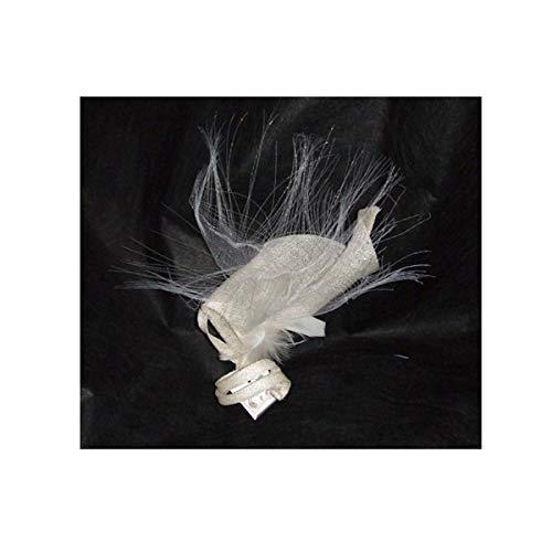 Pinza Estelle crin y sisal amarillo paja y blanco pequeñas plumas tocado...