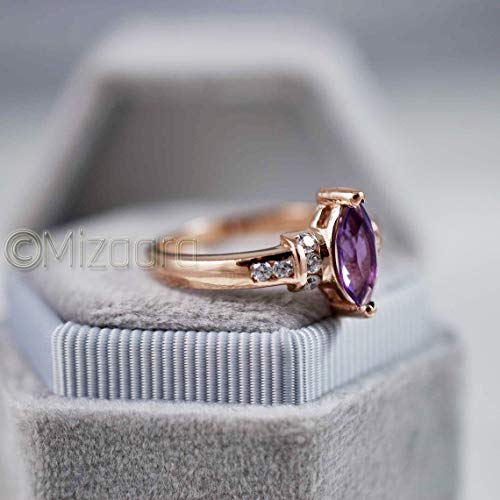 Gift Amethyst Jewelry Birthstone Ring Mothers Day Sterling Silver and Natural Lavender Amethyst Ring