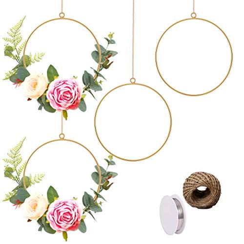 Joy.Box 4 Pcs Gold Metal Floral Hoop Set,Geometric Macrame Frame Metal Wreath Ring,Artificial Flower Garland Wreath Making Kit Wire Hanging Hoop Rings for DIY Crafts Art Home Wall Frame Wedding Décor