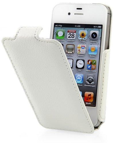 StilGut vertikales Flip-Case kompatibel mit iPhone 4/iPhone 4s, Weiß