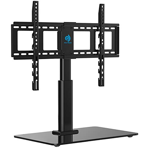 HUANUO Tabletop Swivel TV Stand Fits 32 to 60 LCD LED Inch Television with Heavy-Duty Tempered Glass Base, 4 Level Height Adjustments, VESA Compatible up to 600x400