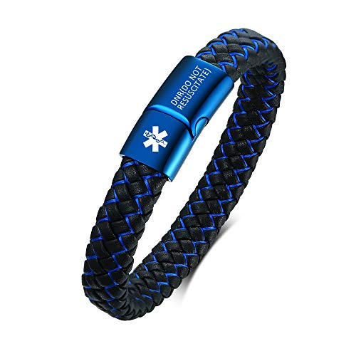 DNR(DO NOT RESUSCITATE) Bracelet for Men - Magnetic Clasp Bangles Pre-Engraved Emergency SOS Identification Medical ID Alert PU Leather Bracelets Stainless Steel Jewellery,Style 3