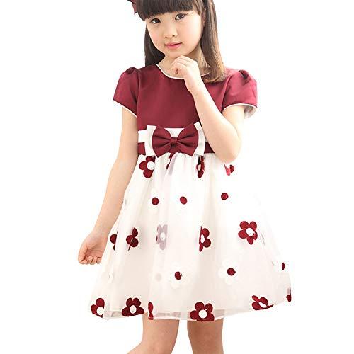 Vestido Informal de Manga Corta con Estampado Floral de Verano para niñas bebés Vestidos de Desfile de Princesa para niños de 3 a 13 años