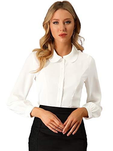 Allegra K Women's Button Up Shirt Career Peter Pan Collar Long Bishop Sleeve Blouse Large Cream White
