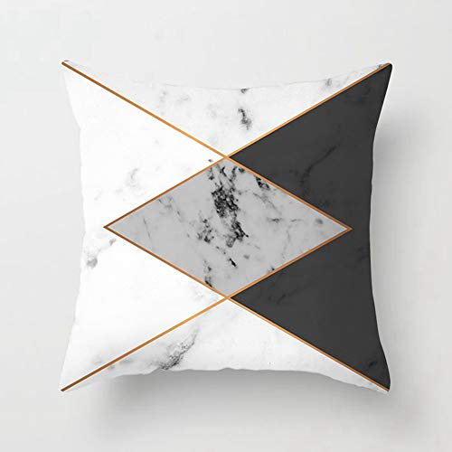 Housse De Coussin 45×45cm Couleur Polyester Jet Taie d'oreiller Marbre Nuances Embellies Lignes Art GéOméTrique - DéCoration De Maison,C