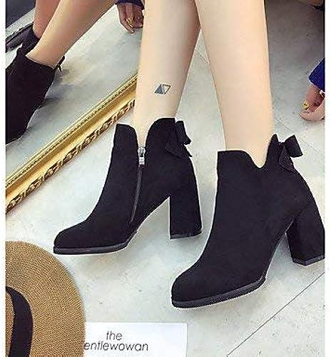 ZHRUI Chaussures pour pour Femmes Chaussures habillées PU Hiver Confort Bottes Bottes à Bout Rond Bottines pour Tenue décontractée Vert Noir, Noir, US6   EU36   UK4   CN36  haute qualité