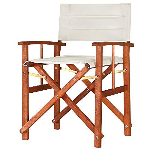 Casaria Gartenstuhl Cannes FSC®-zertifiziertes Eukalyptusholz gepolstert faltbar Klappstuhl Holz Stuhl Regiestuhl Creme