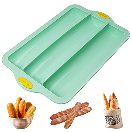 Nonstick Silicone Baguette Pan French Bread Mold for Baking, 3-Wave Loaf 12'x2.5' Toast Sandwich Tray DIY Breadstick Cake Kitchen Bake Mould w/Internal Metal Core Frame&Grips, BPA Free Dishwasher Safe