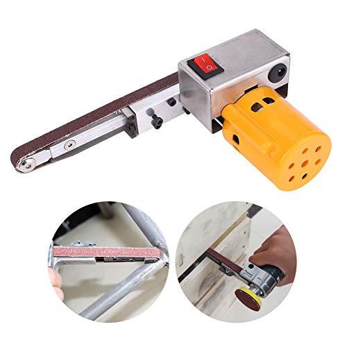 Bandschleifer Schleifbandmaschine, Handschleifpoliermaschine DIY Mini Elektro-Bandschleifer Winkelschleifer(Gelb)