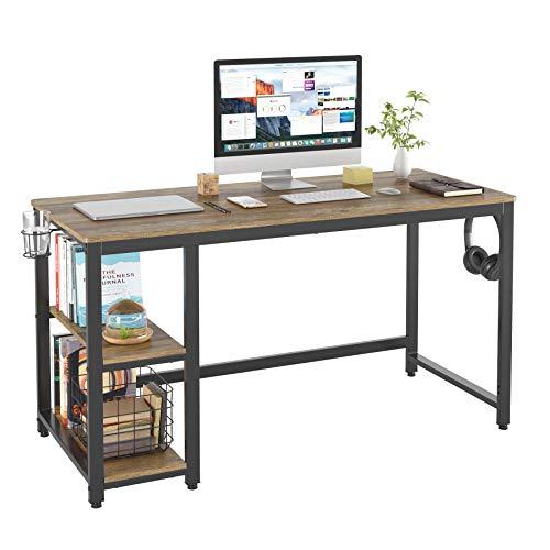 HOMECHO Computertisch mit 2 Regalen Schreibtisch PC-Tisch mit Kopfhörern und Getränkehalter im Industrie-Design für Wohnzimmer Office Arbeitstisch Hellbraun 140 * 60 * 75cm