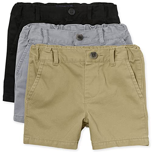The Children's Place Baby Boys and Toddler Boys Chino Shorts, Black/Fin Gray/Flax, 2T