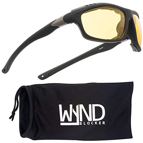 WYND Blocker Airdam Sunglasses Motorcycle Riding, Driving, Fishing, Boating Wrap (Black Matte, Yellow)
