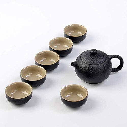 JY&WIN Teekanne Reise-Teeservice-Set Eine Kanne und sechs Tassen Geschenk Tragbares Steinzeug-Teetablett-Shih Tzu Pot