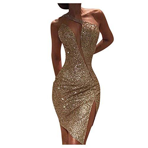 XOXSION Damen sexy Clod Schulter Pailletten kleide Split ärmellose Nachtclub Party Minikleid(Gold,M)