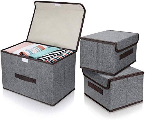 DIMJ 3 Pack Foldable Storage Boxes with Lids, Collapsible Storage Bin with Handle, Fabric Storage Basket Organiser Box for Wardrobe, Closet, Shelf, Office (Grey)