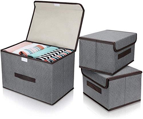DIMJ Cajas Almacenaje con Tapa, Conjunto de 3 Cajas Organizadoras Plegable, Cubos de Almacenamiento con Asa, Organizadores de Contenedore para Ropa Juguetes Libros (Gris)