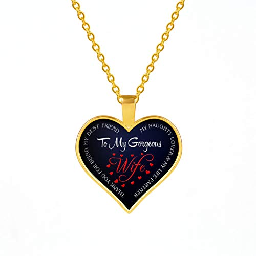 SKYSE Heart-shaped Necklace, Love Sentiment Expression Love Necklace Pendant, Golden/Silver, Womens Day| Mothers Day| Anniversary of the Couple| Marriage Proposal| Birthday Gift