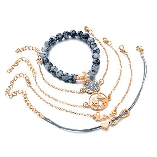 DMUEZW LOVE hart meerlagige armbanden voor vrouwen kristal bedeltje steen kralen schildpad hanger gouden Bangle manchet sieraden