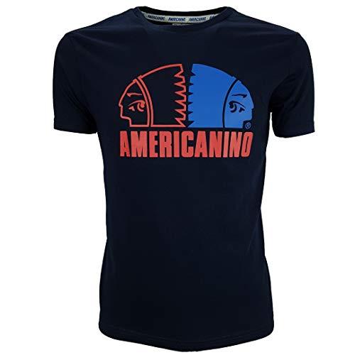 Americanino - Camiseta de manga corta para hombre, de algodón, cuello redondo, XL, XXL, S, M, L turquesa M