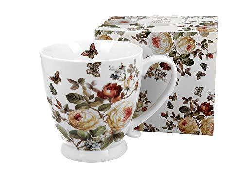 Duo Jumbotasse Becher XXL Blumenmotiv Zahra 500ml aus Porzellan Trinkbecher Kaffeetasse Geschenk Büro Tasse für Kaffee Teetasse Cappuccino Kaffeebecher Riesentasse Jumbo-Tasse Kaffee-Tasse