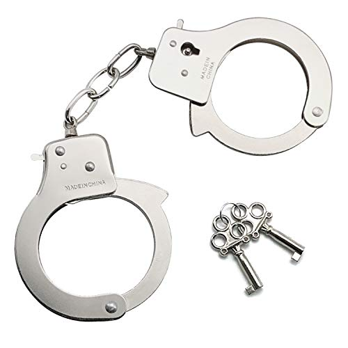 SYOSIN Toy Metal Handcuffs with RolePlayParty Supplies Cosplay Costume Accessory Pretend Play Hand Cuffs for Kids(Silvery)