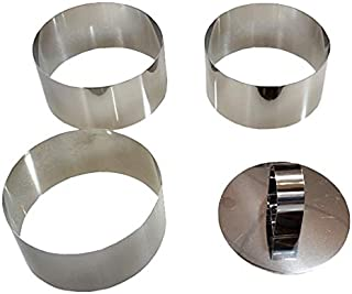 Stainless Steel Cutters/ Food Ring Sets (3 rings 1 tamper )