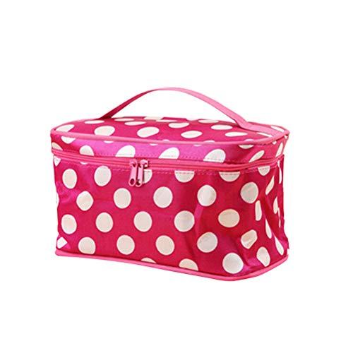 Leikance Bolsa de almacenamiento para cosméticos, diseño de lunares, bolsa de almacenamiento portátil para mujer