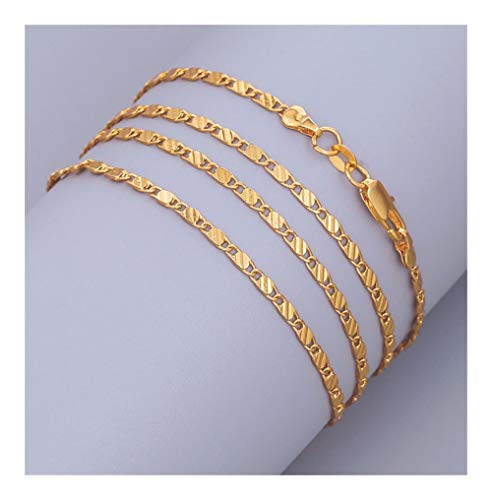 chenran Gift 2mm Gold Color Chain Collares Necklace For Women Men Flat Snake Link Chain Lobster Clasp Jewelry Accessories (Color : Inch30 75cm)