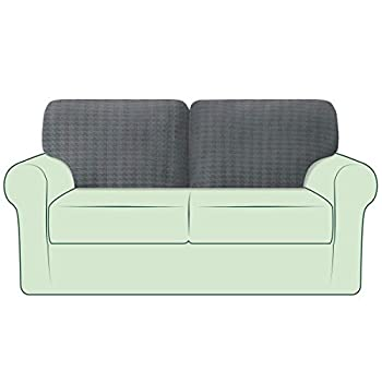 CHUN YI 2PC Stretch Houndstooth Couch Cushion Cover Sofa Backrest Cushion Slipcover Suitable for Armchair Loveseat Sofa Couch Back Cushion Covers Checks Swallow Gird Fabric  T-2PC Gray