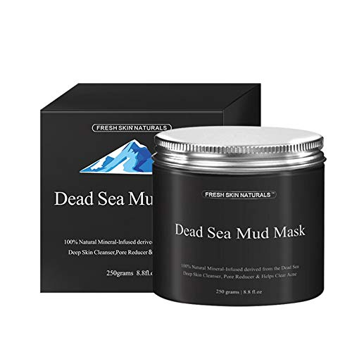 fengwen66 Dead Sea Mud Mask Facial Cleanser Anti-Acne Moisturizing Smoothing Cleaning(Black)