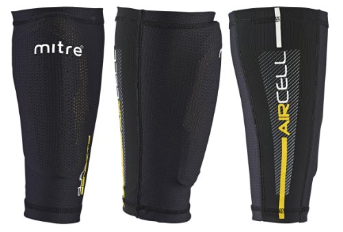 Mitre Aircell Pro Slip with Lock Sleeves Football Shin Pads - Black/Yellow, Large & Unisex's Division Plain Football Sock, Navy, Senior/7-12