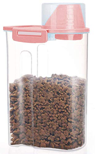 PISSION Pet Food Storage Container with Graduated Cup and Seal Buckles Food Dispenser for Dogs Cats (Pink)