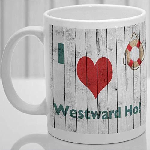Westward Ho! Recuerde Devon Taza de café personalizada, Taza de cerámica para amantes de los gatos Taza de bebida de té para el hogar y la oficina, cumpleaños, aniversario, Halloween, Día de San Valen