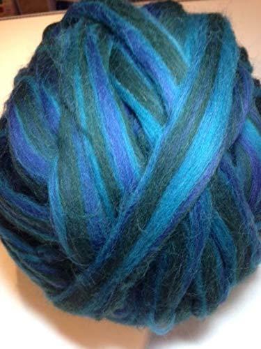 100 g Kammzug ++ Bandwolle ++ multicolor-Blau-Grüntöne ++ zum Filzen, Spinnen, XXL-Stricken + EUR 7,00/100g