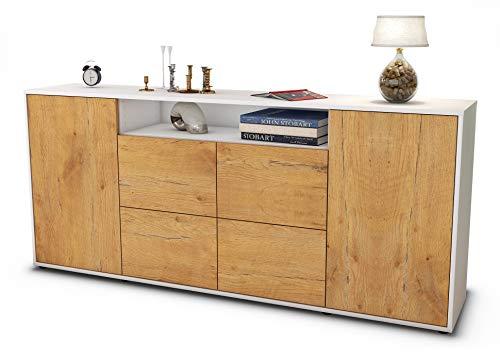 Stil.Zeit Sideboard Ephenia/Korpus Weiss matt/Front Holz-Design Eiche (180x79x35cm) Push-to-Open Technik