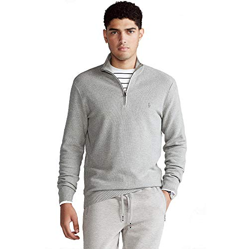 Ralph Lauren Jersey con Cuello Zip (M, Grey Heather)